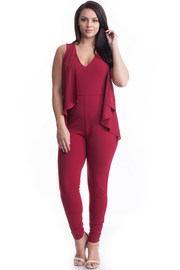Plus Size Layered Sheer Frill V-neck Fit Jumpsuit