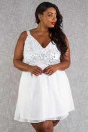 Plus Size Sequin & Solid Ballerina Sweet Dress