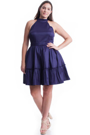 Plus Size Silhouette Mock Tiered Flared Dress