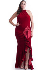 Plus Size Elegant Velvet Mock Ruffled Slit Side Maxi Dress