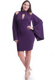 Plus Size Keyhole Trumpet Sleeved Bodycon Dress