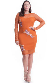 Plus Size Floral Patch Mesh Sleeved Bodycon Dress