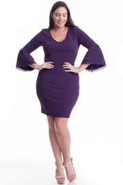 Plus Size V-neck Bell Sleeved Bodycon Dress