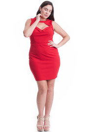 Plus Size Keyhole Sexy Solid Bodycon Dress