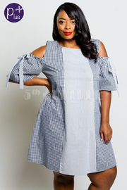 Plus Size Cold Shoulder Plaid Country Girl Tunic Dress