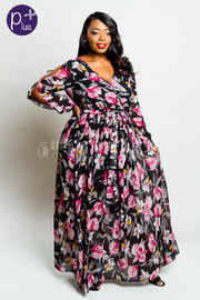 Plus Size Tulips Surplice Chiffon Maxi Breeze Dress