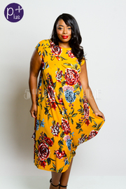 Plus Size Roses In Bloom Asymmetrical Tunic Dress