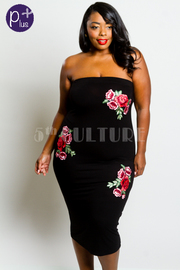 Plus Size Strapless Floral Patch Tube Midi Dress