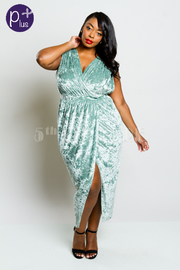 Plus Size Surplice Velvet Casual Tulip Dress