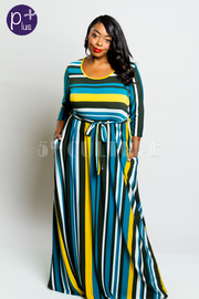 Plus Size Striped All The Way Tie Waist Flowy Maxi Dress