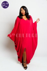 Plus Size Casual Solid Open Shoulder Harem Maxi Dress