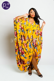 Plus Size Open Shoulder Roses Printed Harem Maxi Dress