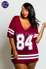 Plus Size V-neck Varsity Mini Tunic Dress