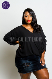 Plus Size Surplice Ruffled Long Sleeved Top