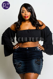 Plus Size Ruffled Long Sleeved Off Shoulder Top