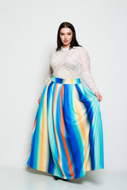 Plus SIze Hi Waist Striped Colored Maxi Skirt