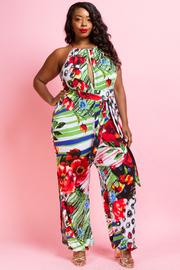 Plus Size Keyhole Floral Tie Waist Jumpsuit