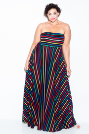 Plus Size Strapless Colorful Striped Lines Maxi Dress