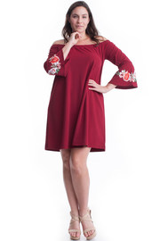 Plus Size Flower Patched Bell Sleeved Tunic Dress