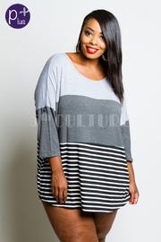 Plus Size Striped & Colorblock Tunic Top