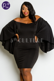 Plus Size Classy Off Shoulder Cape Bodycon Dress
