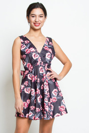 Silky Roses Flared Cocktail Dress