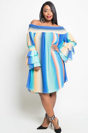 Plus Size Classy Colorblock Striped Sheer Off Shoulder Smocked Trim Ruffled Sleeved Dress