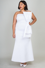 Plus Size Looking Classy Strapless Big Bow Side Maxi Dress