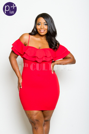 Plus Size Cold Shoulder Ruffled Night Bodycon Dress