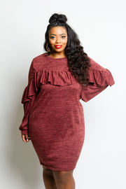 Plus Size Ruffled Up Sweater Midi Tube Dress
