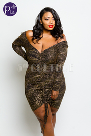 Plus Size Shimmer Glam Lined Long Sleeved Dress