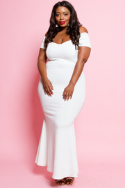 Plus Size Off Shoulder Cocktail Mermaid Maxi Dress