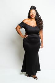 Plus Size Off Shoulder Cocktail Mermaid Maxi Dress
