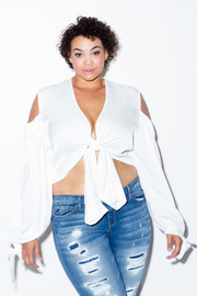 Plus Size Long Sleeved Cold Shoulder Tie Detail Sexy Crop Top