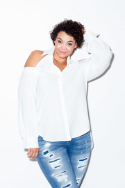Plus Size Cold Shoulder Collared Button Down Shirt