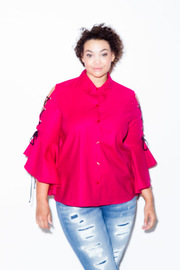 Plus Size Button Down Tie Up Sleeved Solid Bell Cuff Shirt