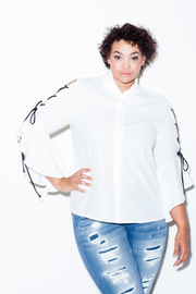 Plus Size Tie Up Sleeved Button Down Classy Shirt
