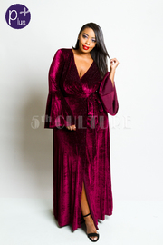Plus Size Bell Sleeved Velvet Glam Cocktail Maxi Wrap Tie Dress