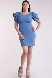 Plus Size Bubble Sleeved Bodycon Dress