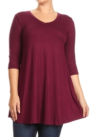 Plus Size 3/4 Sleeved Solid Jersey Dress