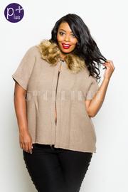 Plus Size Fall Cozy Furry Collar Kimono Poncho