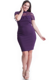 Plus Size Laced Mock Neck Ruffled & Solid Bodycon Dress