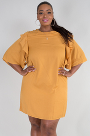 Plus Size Ruffled Side Bell Sleeved Tunic Dress