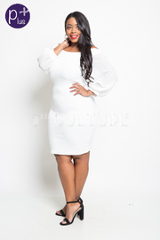 Plus Size Off Shoulder Bubble 3/4 Sleeved Bodycon Dress