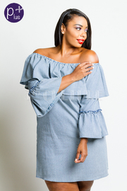 Plus Size Off Shoulder Peasant Ruffled Sleeved Striped Tunic Dress