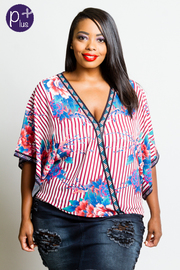 Plus Size Surplice Floral Striped Kimono Blouse