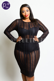 Plus Size Sexy Night Out Striped Bodycon Dress