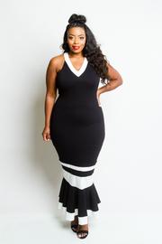 Plus Size Contrast Striped V-neck Tube Mermaid Maxi Dress