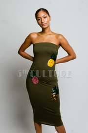 Strapless Chic Sequin Pineapple Tube Midi Dress