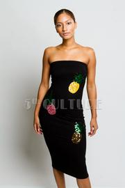 Strapless Chic Sequin Pineapple Tube Midi Dress